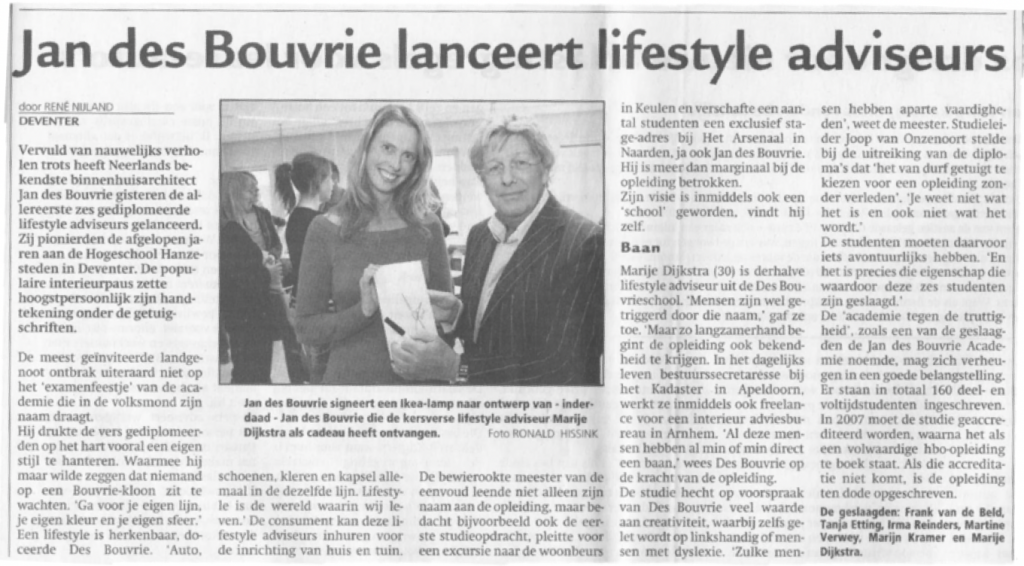 Marije Dijkstra Jan Des Bouvrie Interieur Ontwerp Stylist